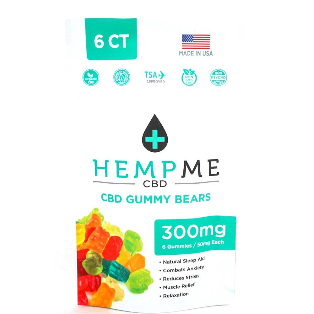 HempMe GUMMY BEARS | ORGANIC | 300mg | 50mg Per Piece | 6 COUNT