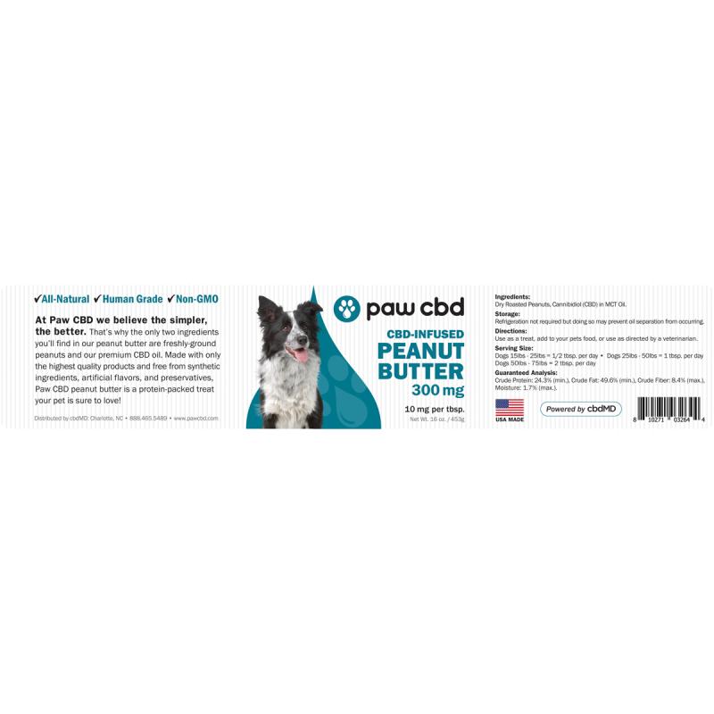 cbdMD   PAW CBD PEANUT BUTTER SPREAD FOR DOGS   3 LEVELS  