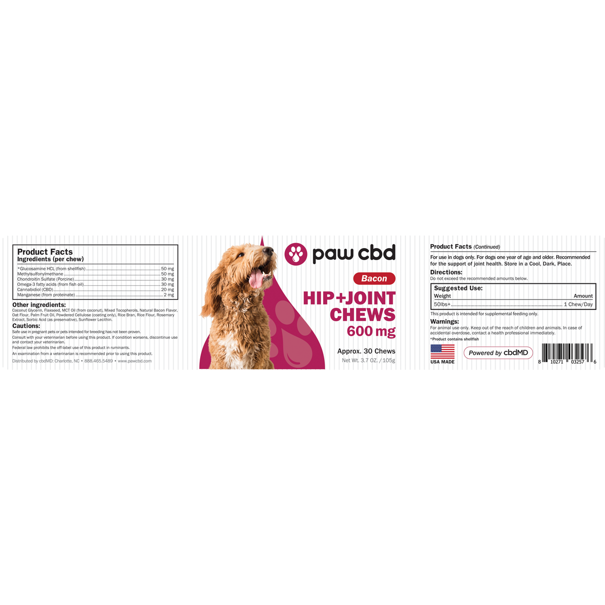 cbdMD | PAW CBD HIP & JOINT SOFT CHEWS FOR DOGS | 3 LEVELS | BACON |