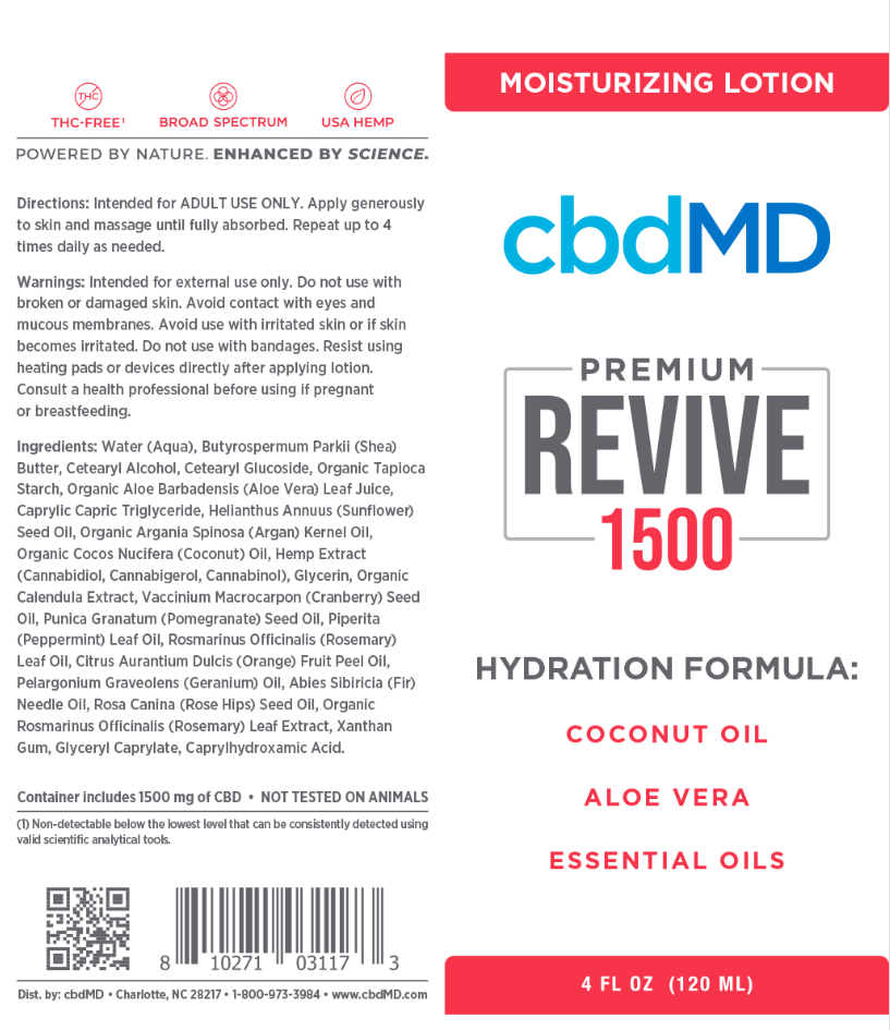 cbdMD | cbdMD MOISTURIZING LOTION | REVIVE | SQUEEZE TUBES | 3 LEVELS |