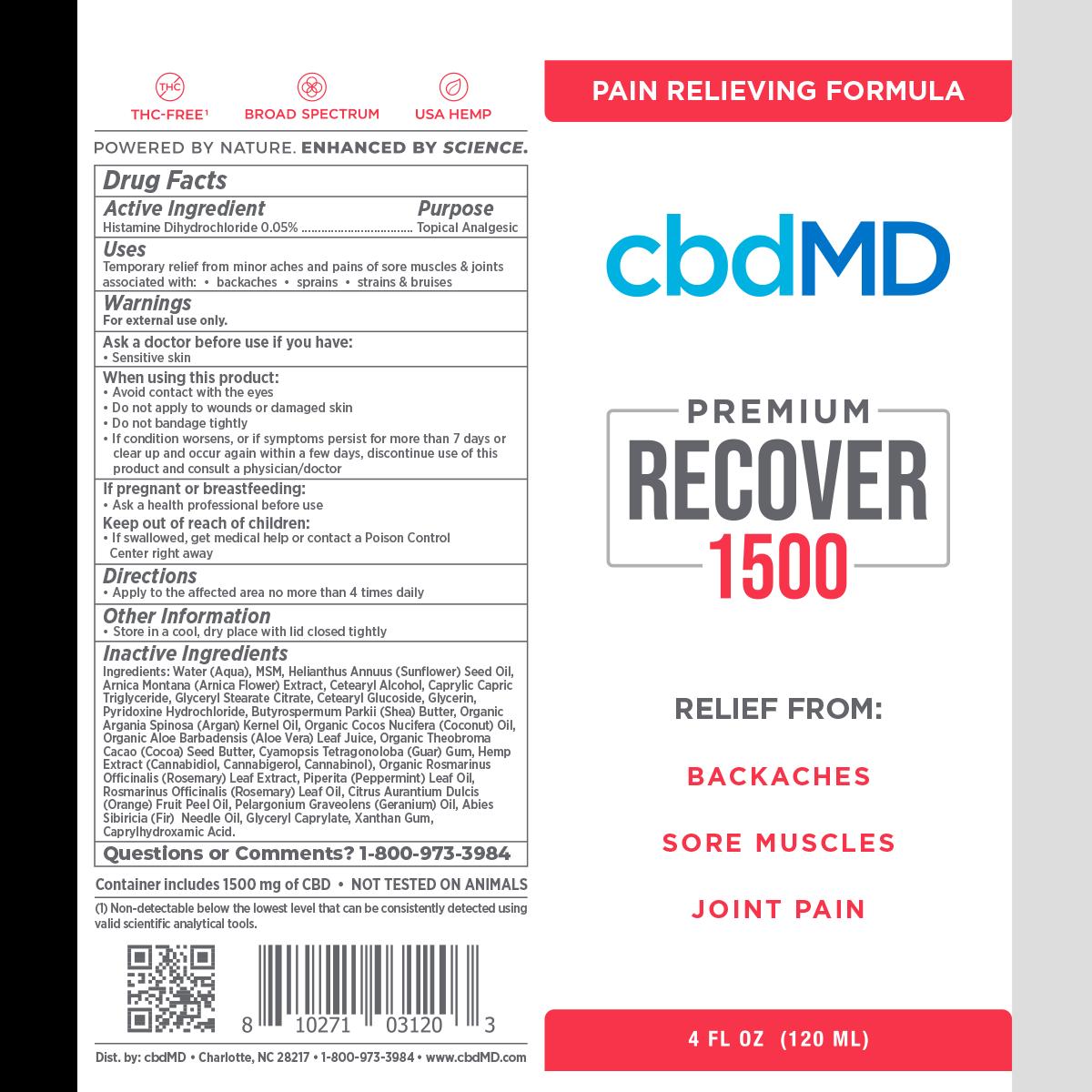 cbdMD | cbdMD INFLAMMATION RECOVER FORMULA | 3 LEVELS |