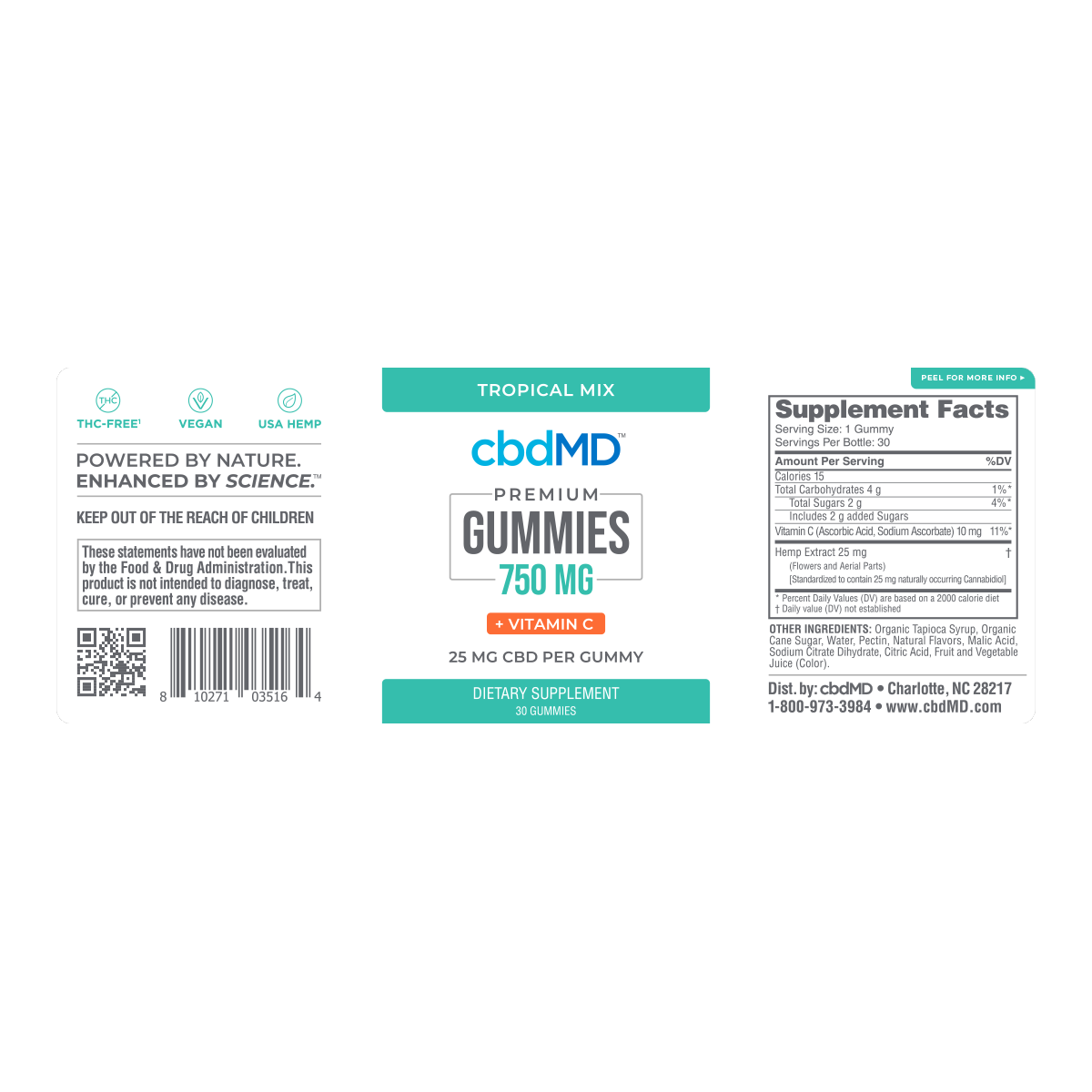 cbdMD | cbdMD GUMMIES | 750mg CBD + VITAMIN C | 30 COUNT |