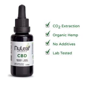 NuLeaf Naturals FULL SPECTRUM CBD OIL | HIGH GRADE HEMP EXTRACT | 1800mg | 60mg per ml | 30ml Bottle