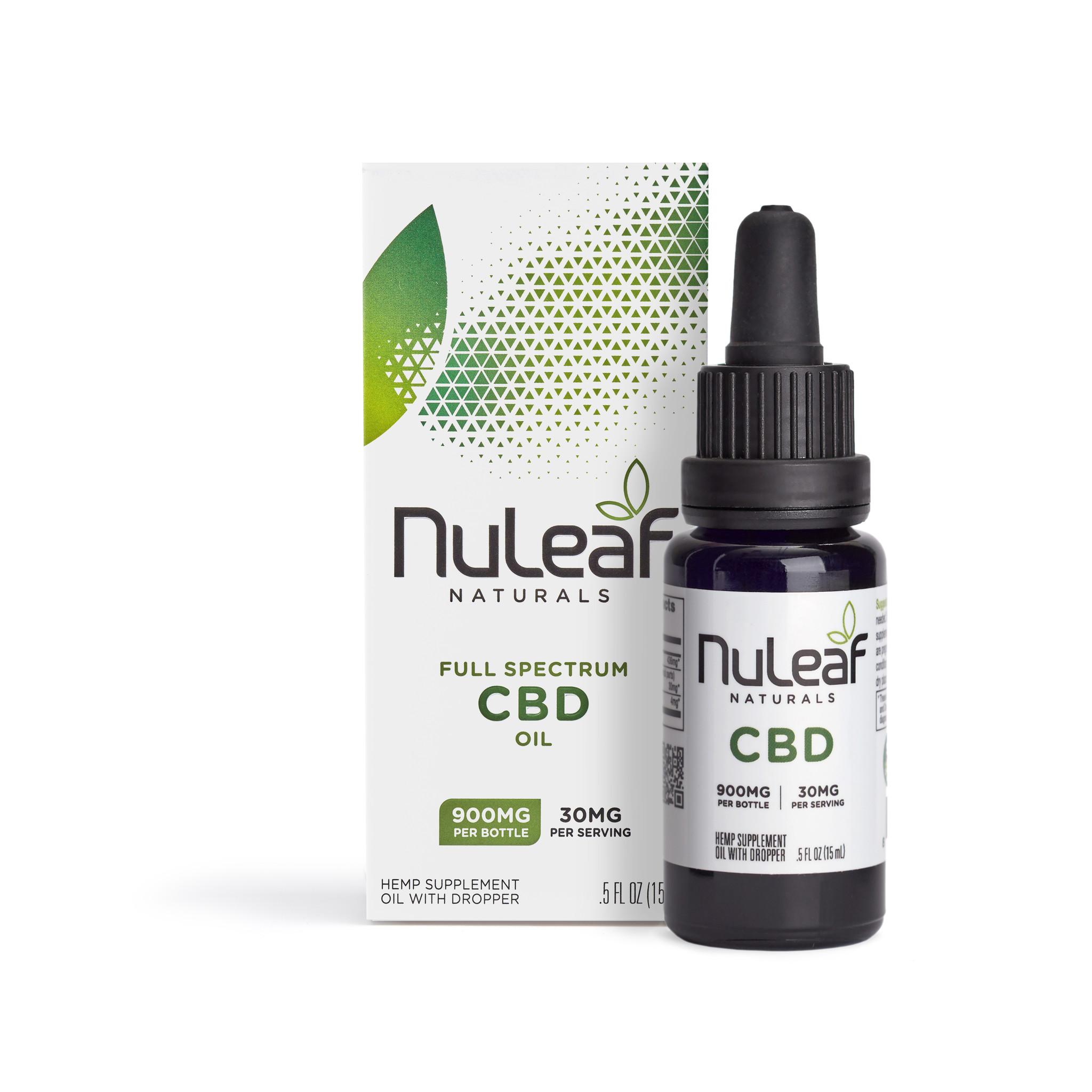 NuLeaf Naturals FULL SPECTRUM CBD OIL | HIGH GRADE HEMP EXTRACT | 900mg | 60mg per ml | 15ml Bottle