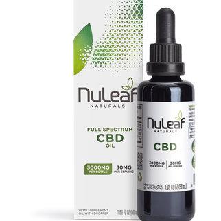 NuLeaf Naturals FULL SPECTRUM CBD OIL   HIGH GRADE HEMP EXTRACT   3000mg   60mg per ml   50ml Bottle