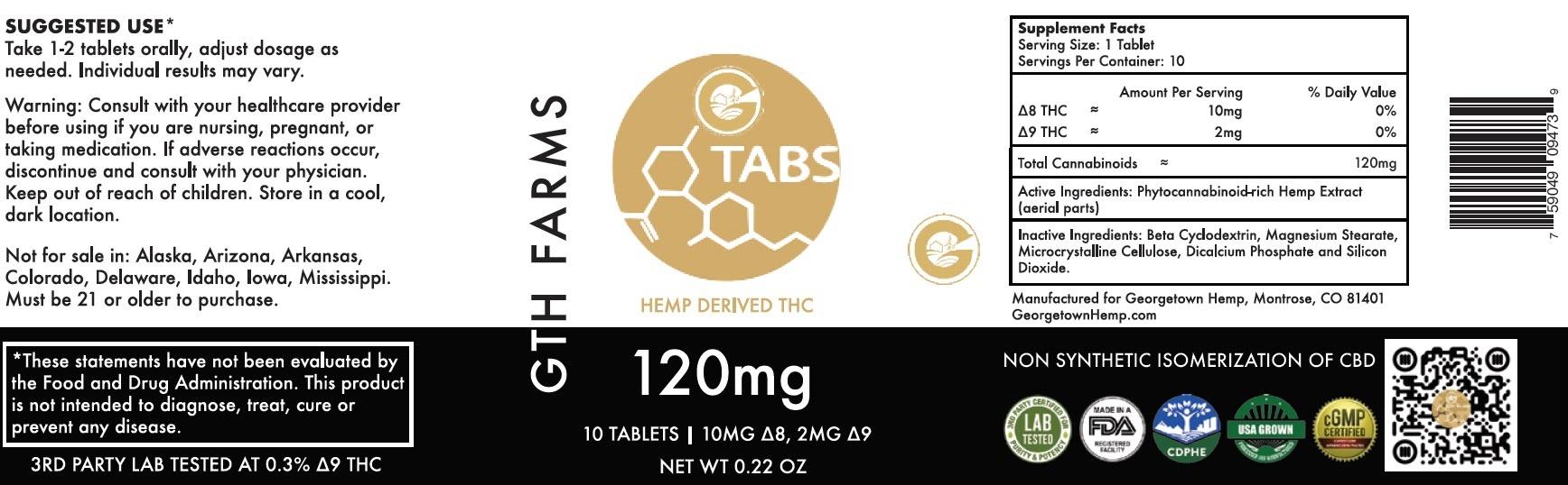 Georgetown Hemp | GTH FARMS | HEMP DERIVED THC TABLETS | 2 OPTIONS |