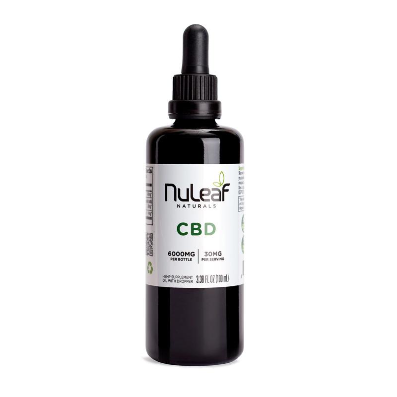 NuLeaf Naturals FULL SPECTRUM CBD OIL | HIGH GRADE HEMP EXTRACT | 6000mg | 60mg per ml | 100ml Bottle