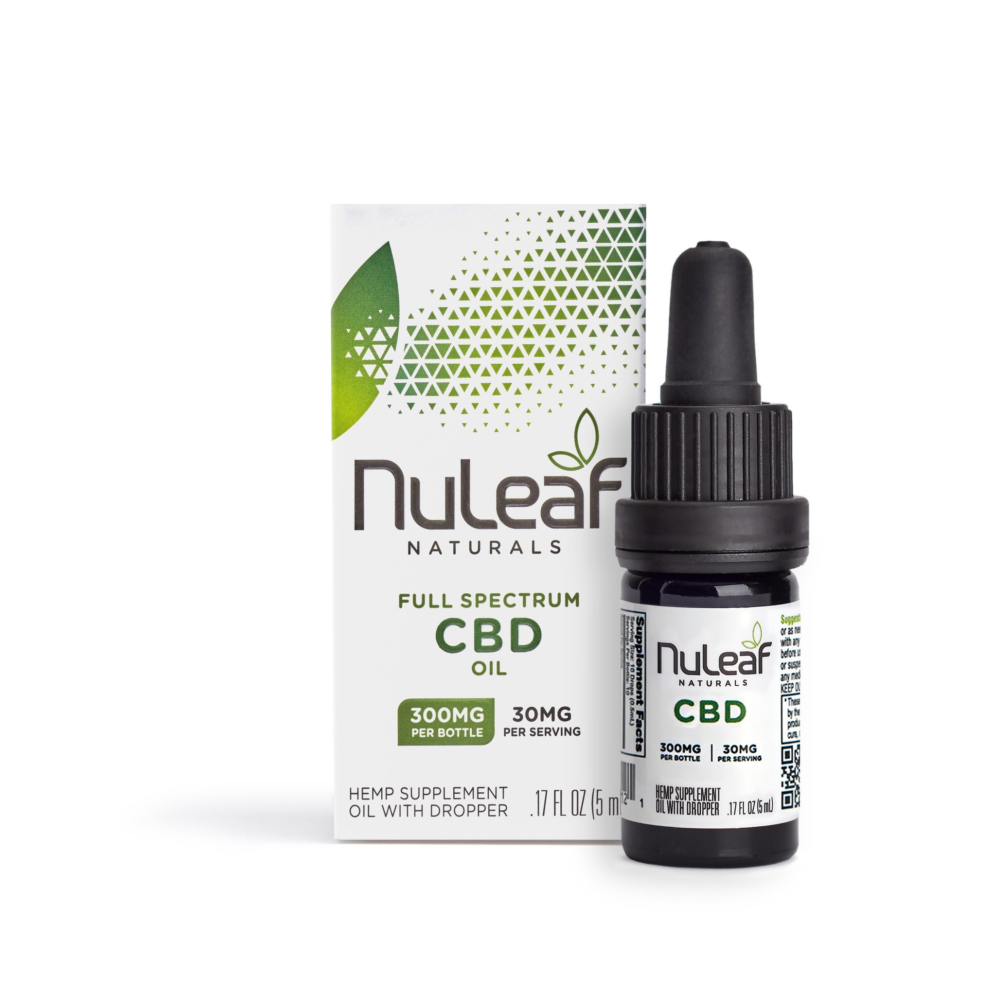 NuLeaf Naturals FULL SPECTRUM CBD OIL | HIGH GRADE HEMP EXTRACT | 300mg | 50mg per ml | 5ml Bottles