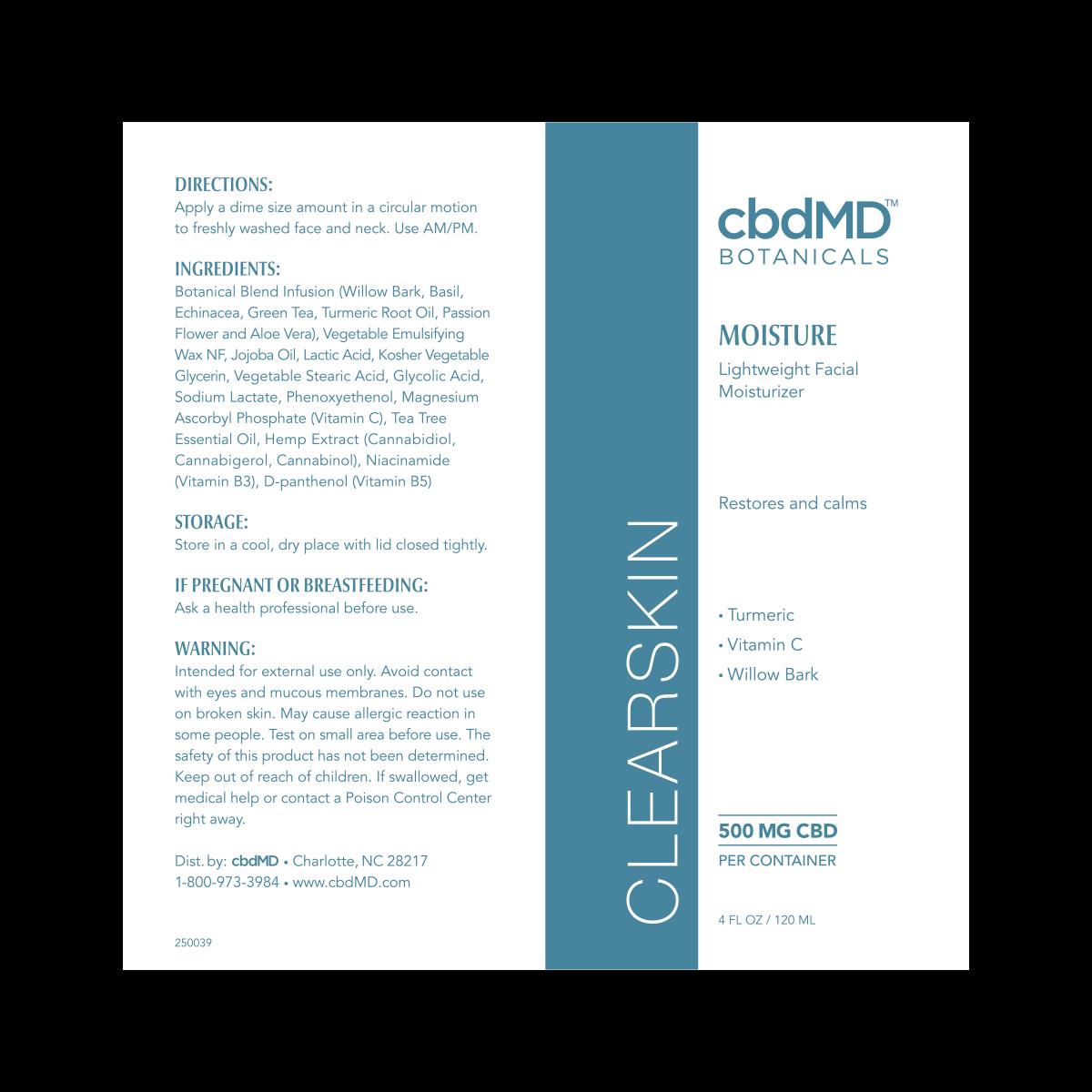 cbdMD | CBDmd | CBD CLEARSKIN MOISTURE | 500mg | 4 Oz TUBE |