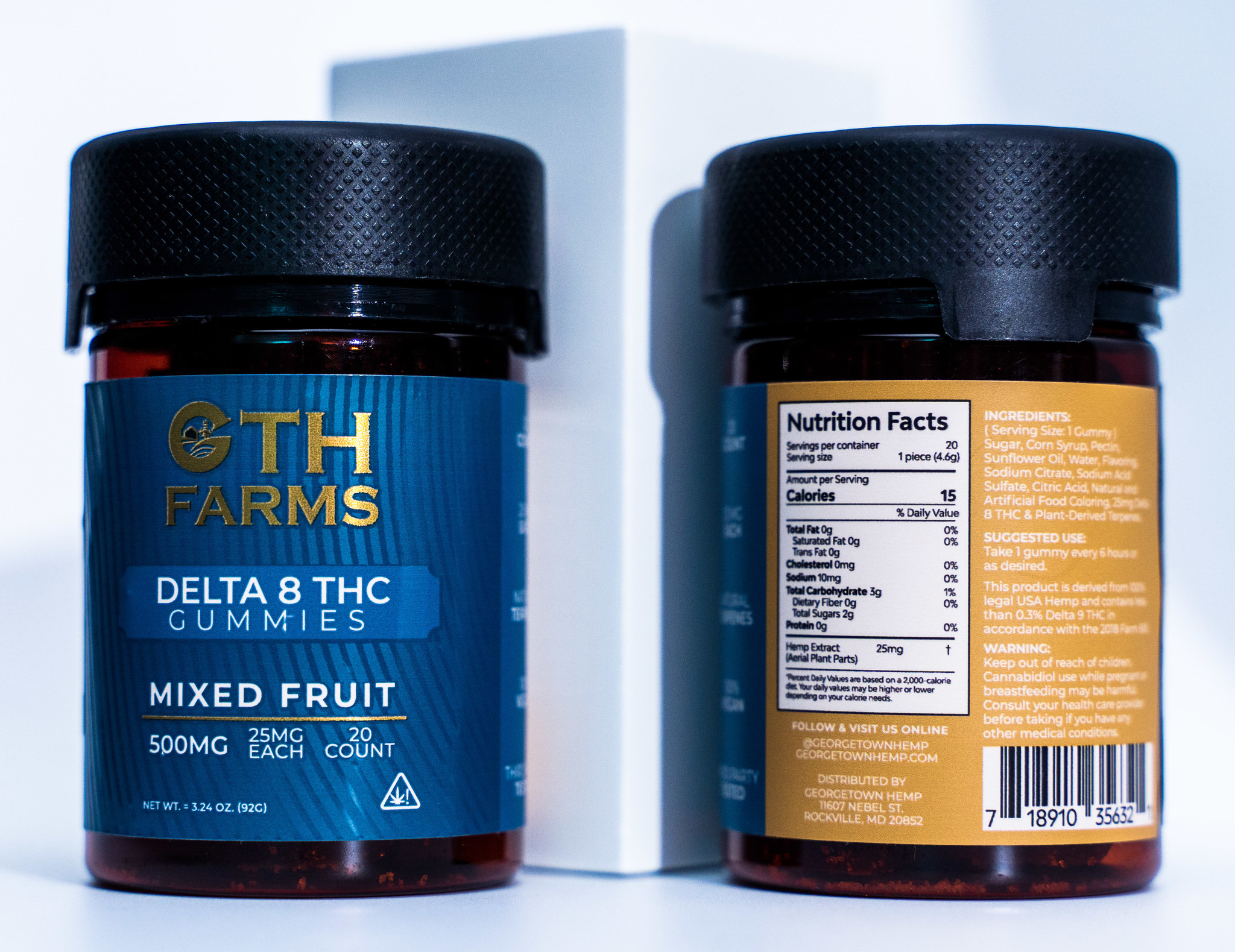 Georgetown Hemp GTH | DELTA 8 GUMMIES | MIXED FRUITS | 25mg Per Gummy | 20 COUNT