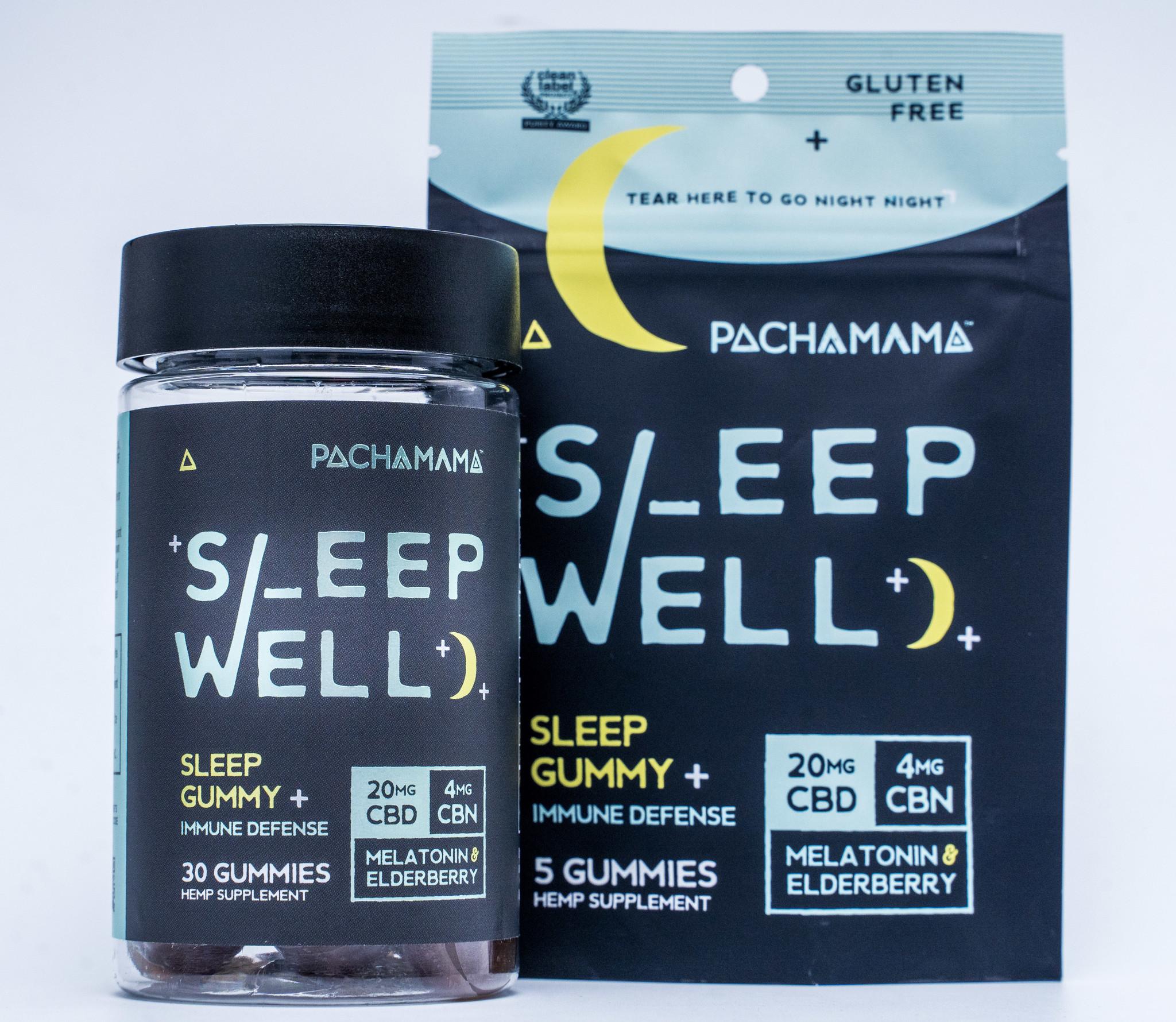 PachaMama CBD | SLEEP GUMMIES | 20mg CBD | 4mg CBN | 2mg MELATONIN | 35mg ELDERBERRY | 5 COUNT