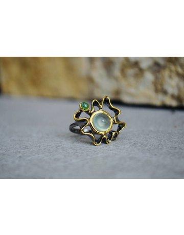 Prehnite w/tourmaline Ring - size 6