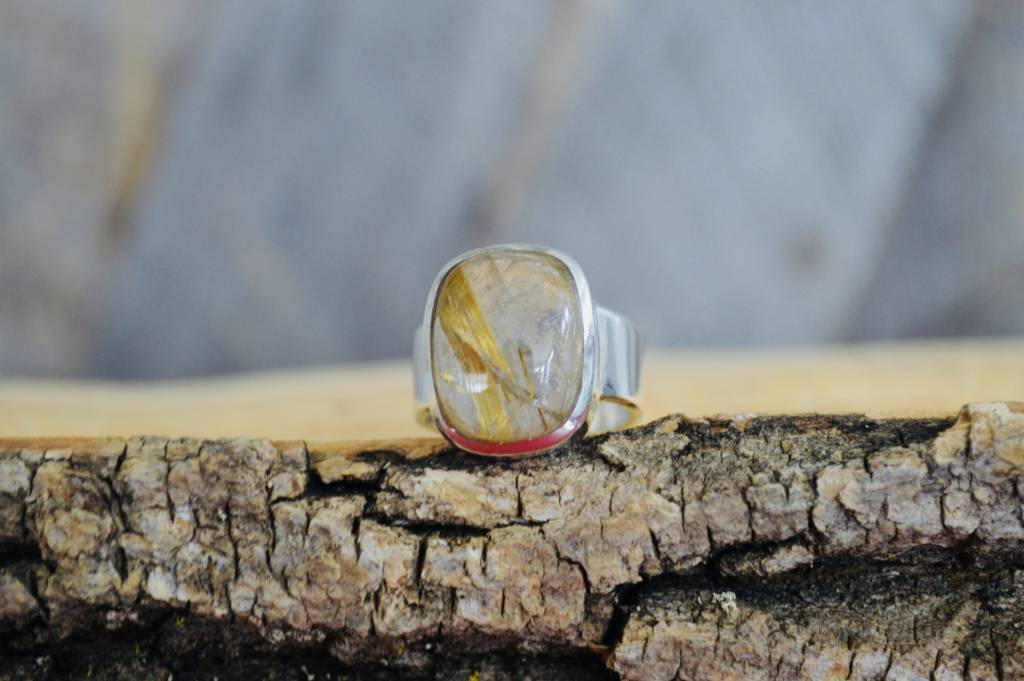 Wheat Rutile Quartz Ring - size 7