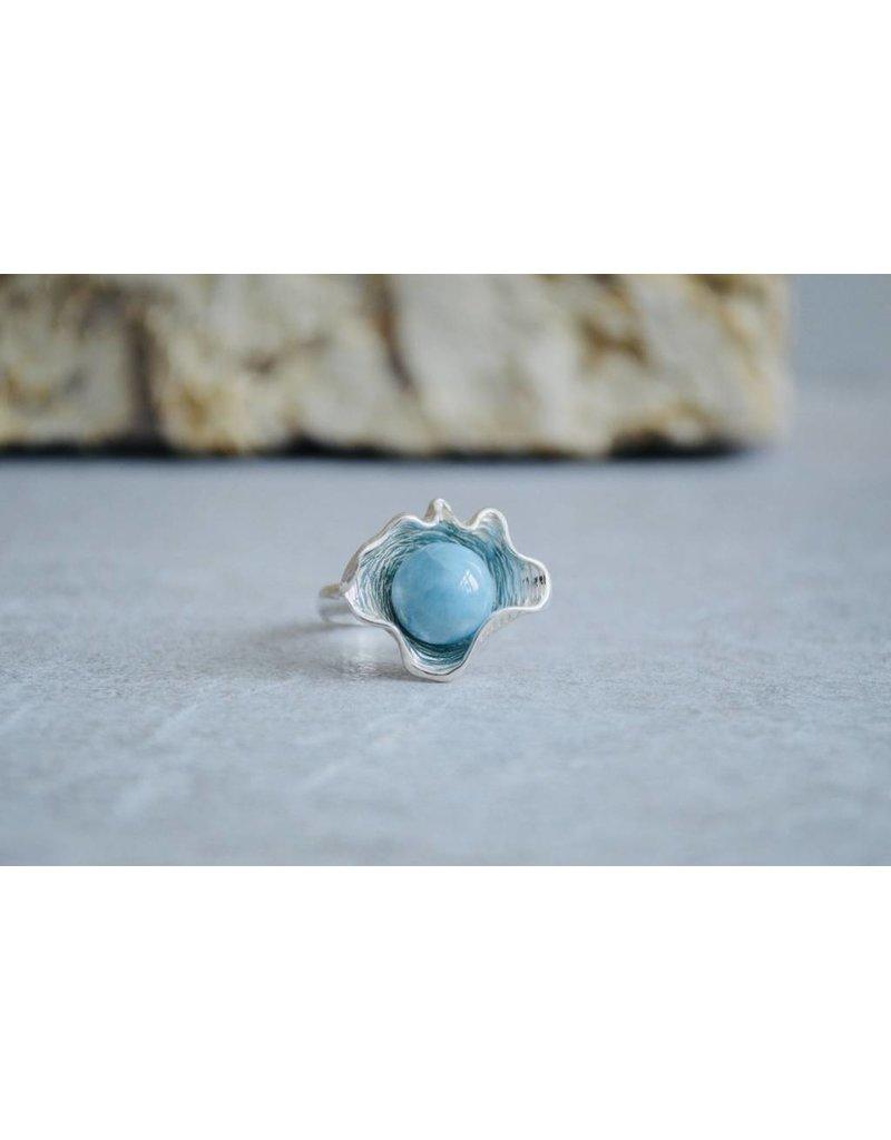 Larimar Clam Ring - size 7