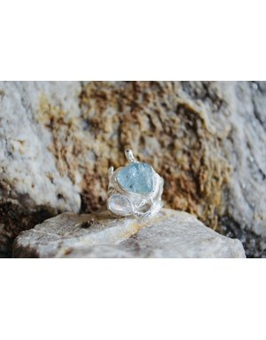 Aqua & Moonstone Ring - size7