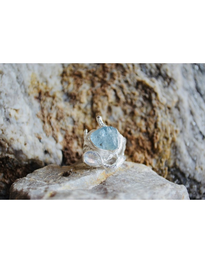 Aqua & Moonstone Ring - size7