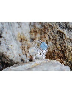 Aqua & Moonstone Ring - size 7