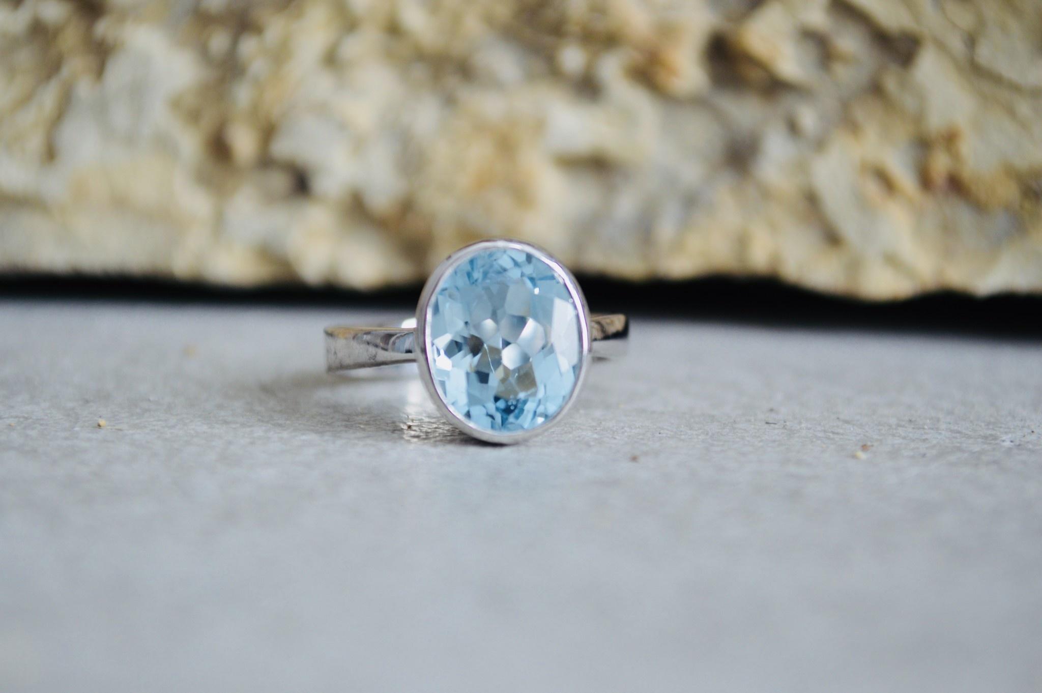Blue Topaz Ring - size 9