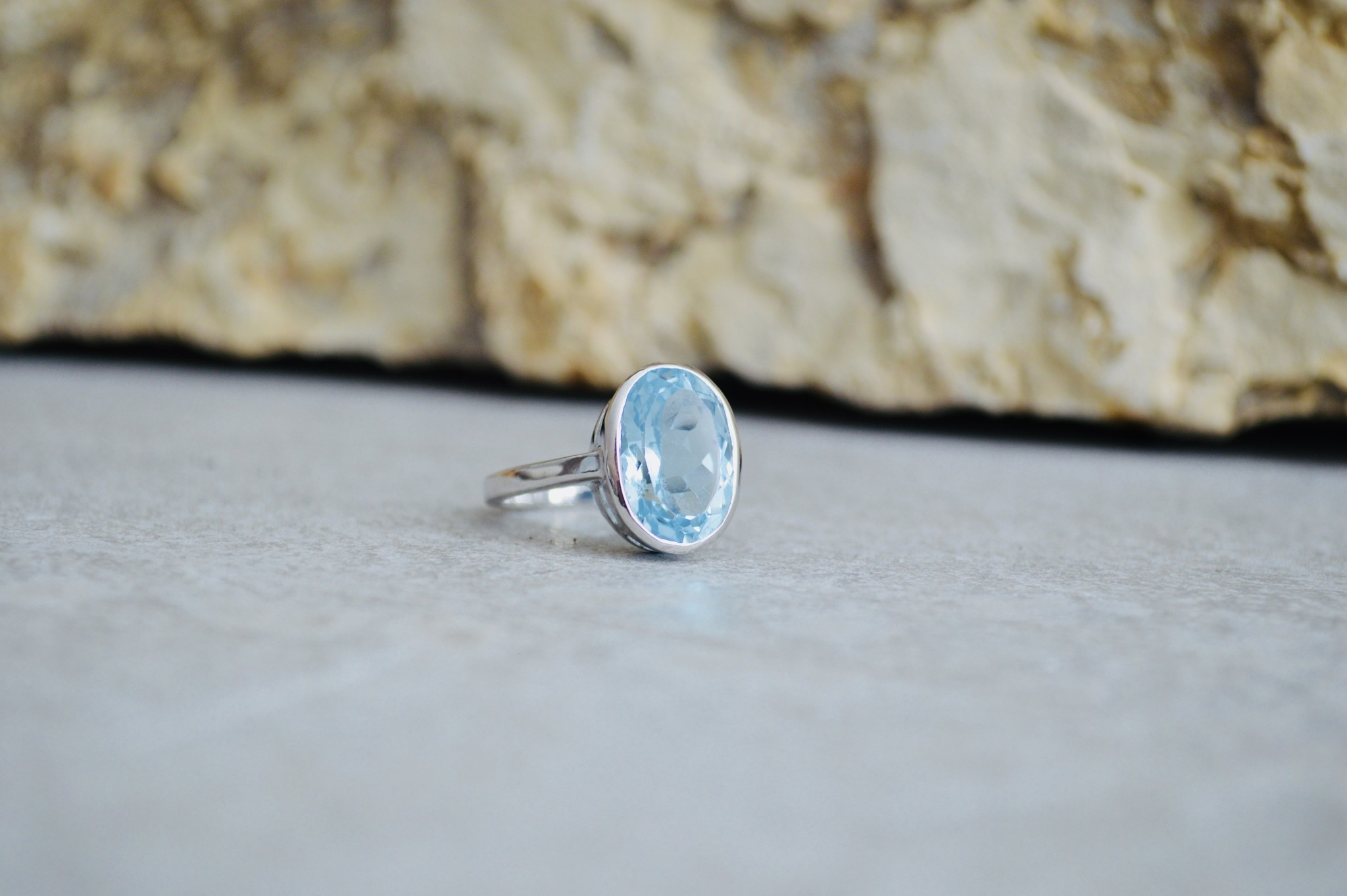Blue Topaz Ring - size 8