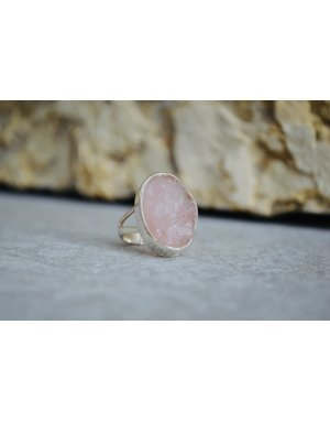 Rough Rose Quartz Ring - size 6