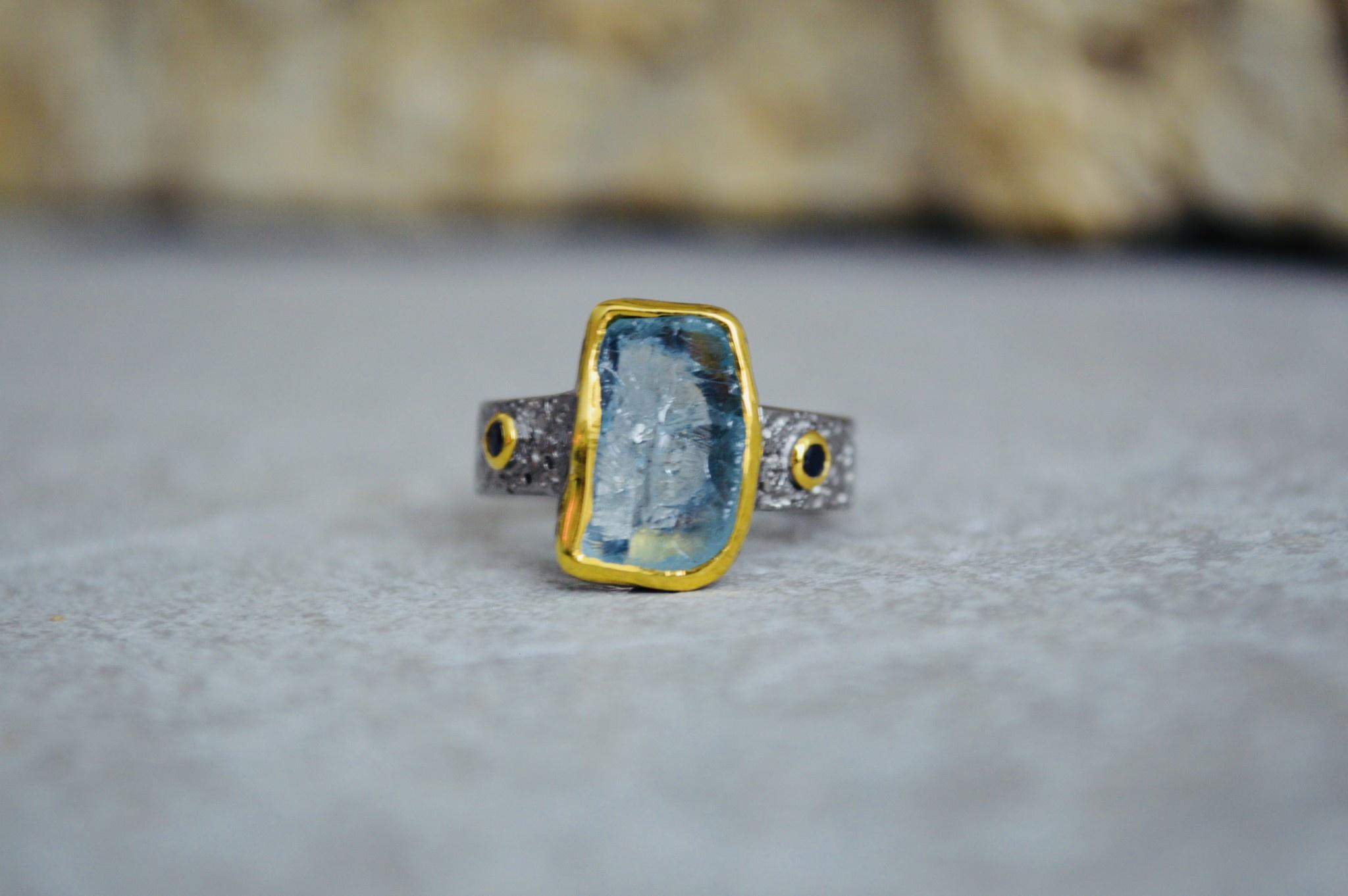 Aquamarine Ring w/gold Ring - size 7