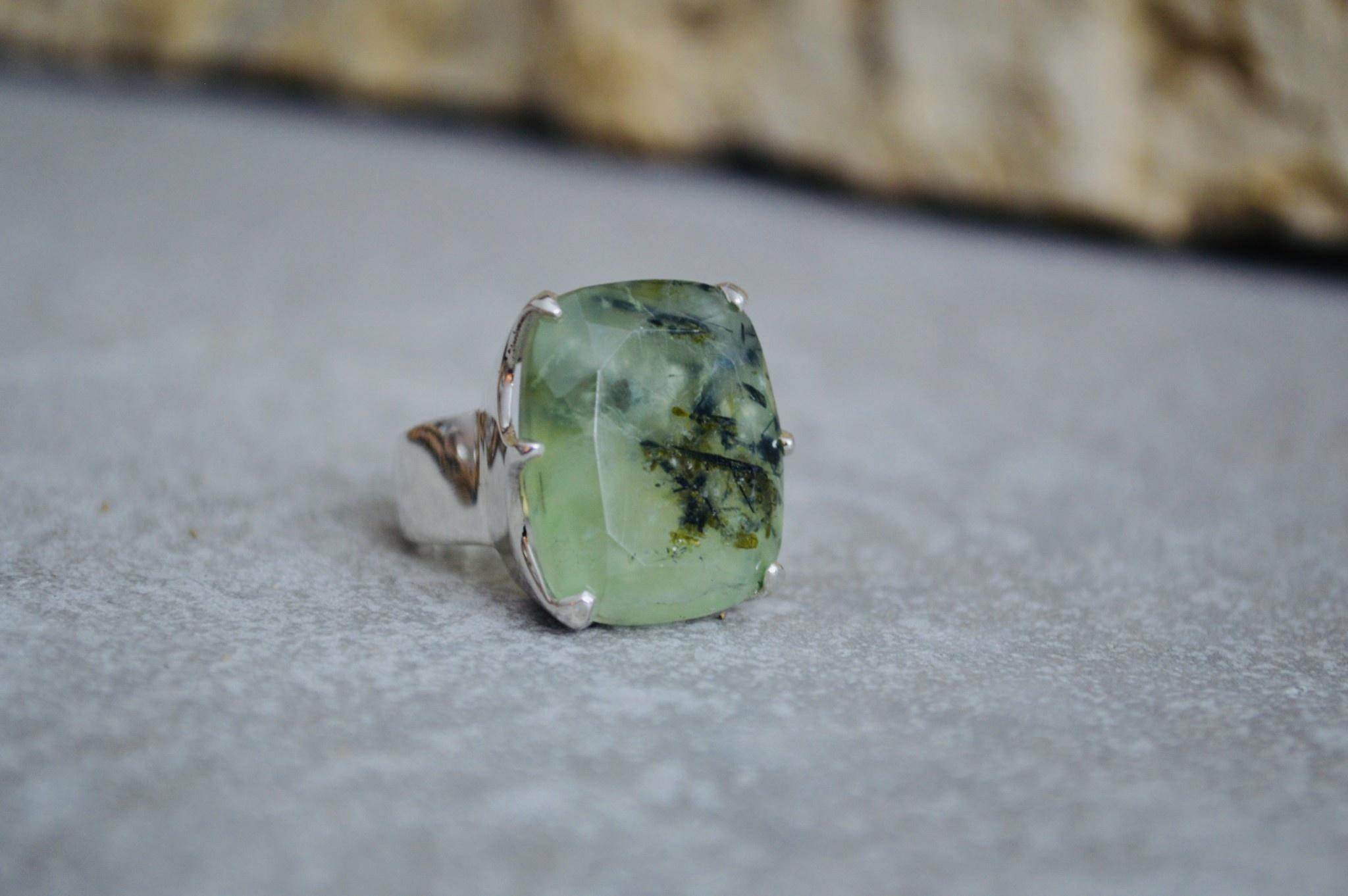 Rutilated Prehnite Ring - size 6