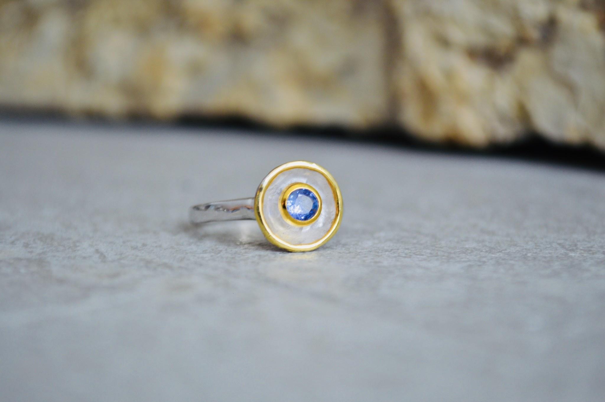 Tanzanite w/gold tip Ring - size 7