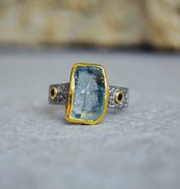 Peridot Ring w/orange sapphires - size 8