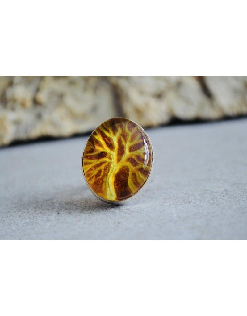 Irena Wastag Tree Amber Ring - Size Adj