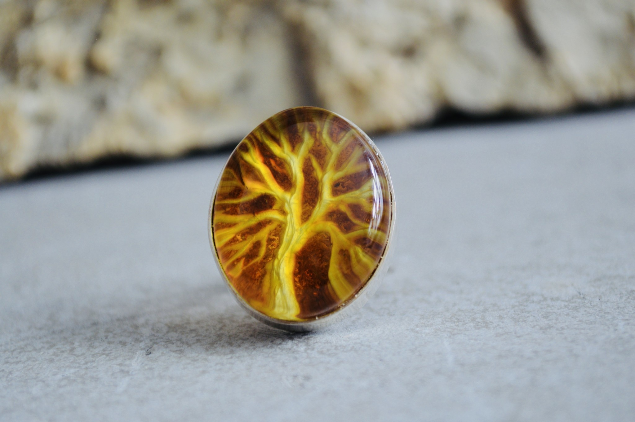 Irena Wastag Tree Amber Ring - Size Adj