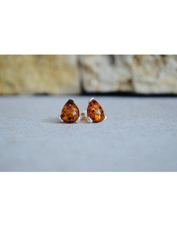 Amber Triangle Studs