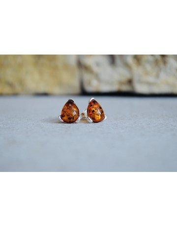 Silver Fox Jewelry Amber Triangle Studs