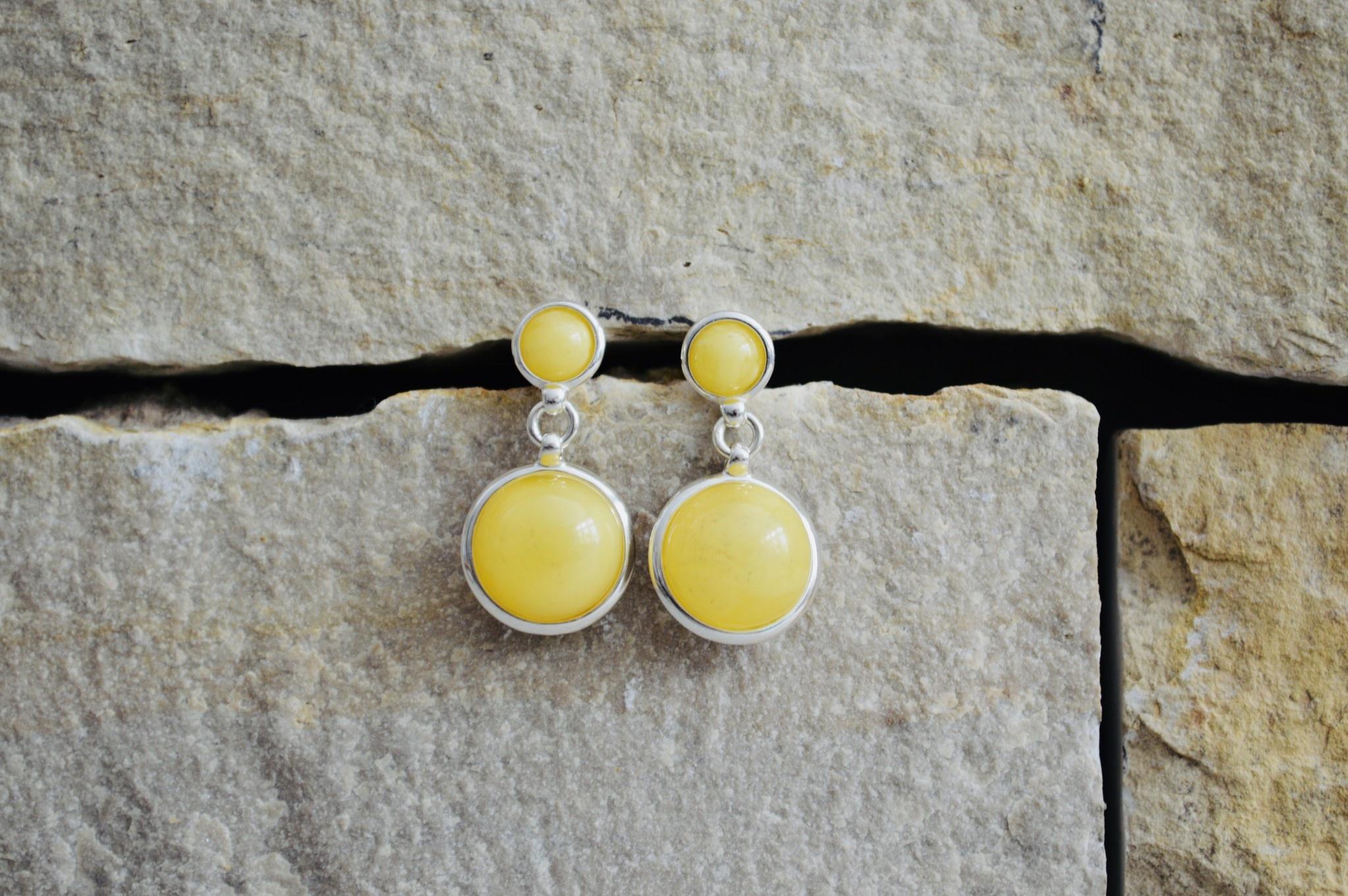 Double Butterscotch Amber Earrings