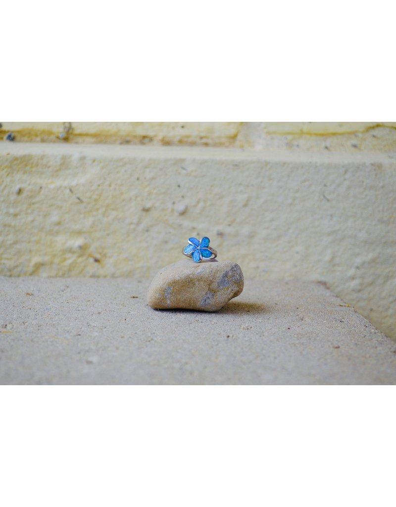 Blue Opalite Flower Ring - size 7.5