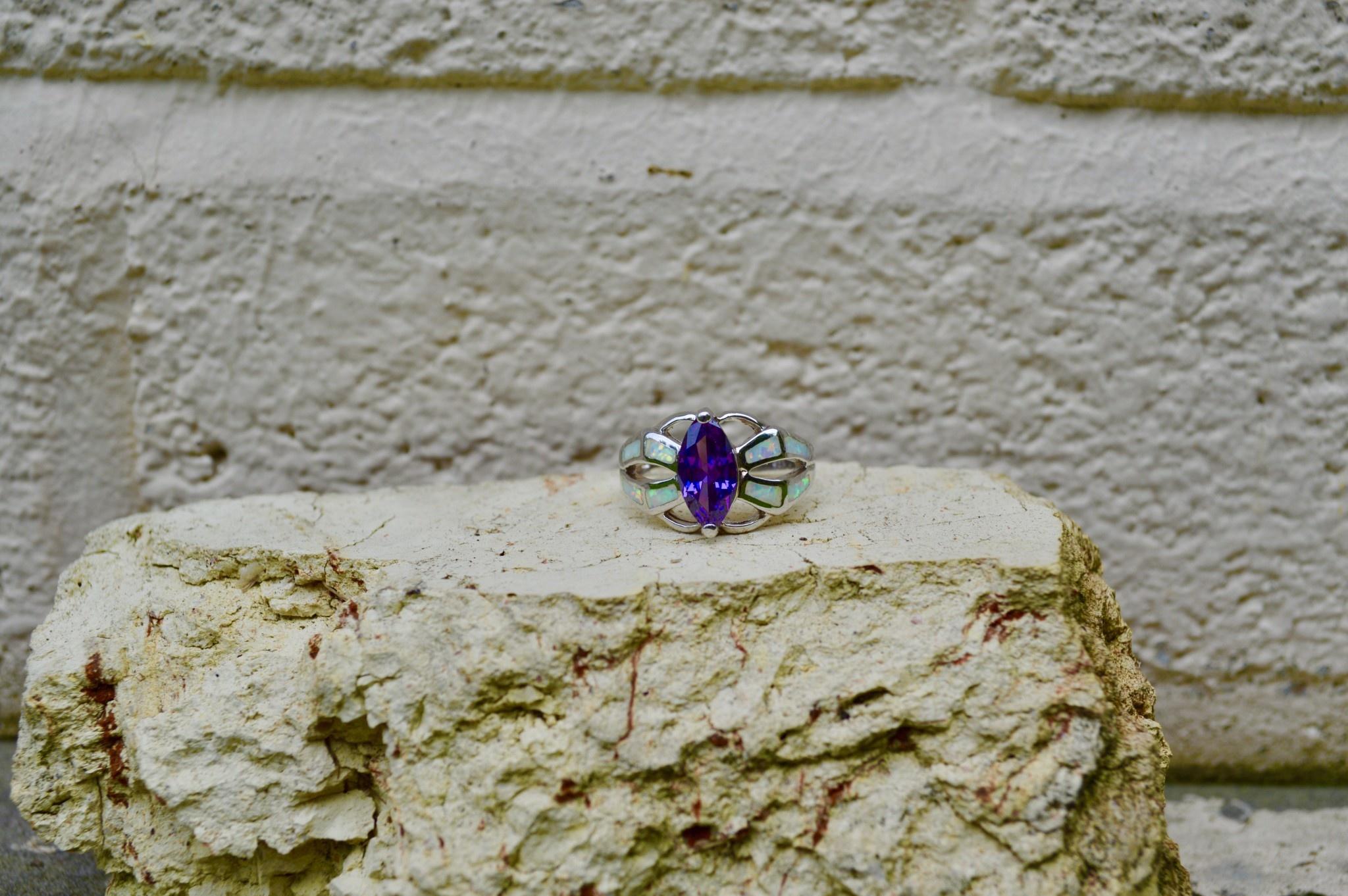 White opalite w/marquis purple stone - Size 7