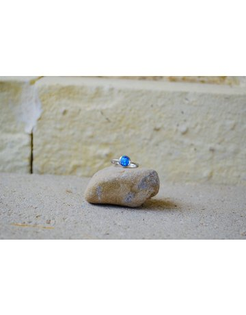 Round Blue Opalite Ring - size 8