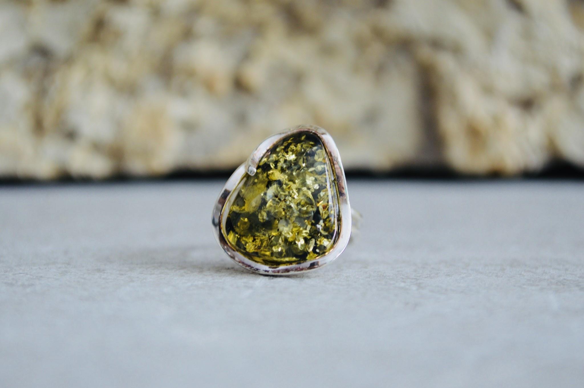 Green Amber Ring - Size Adj