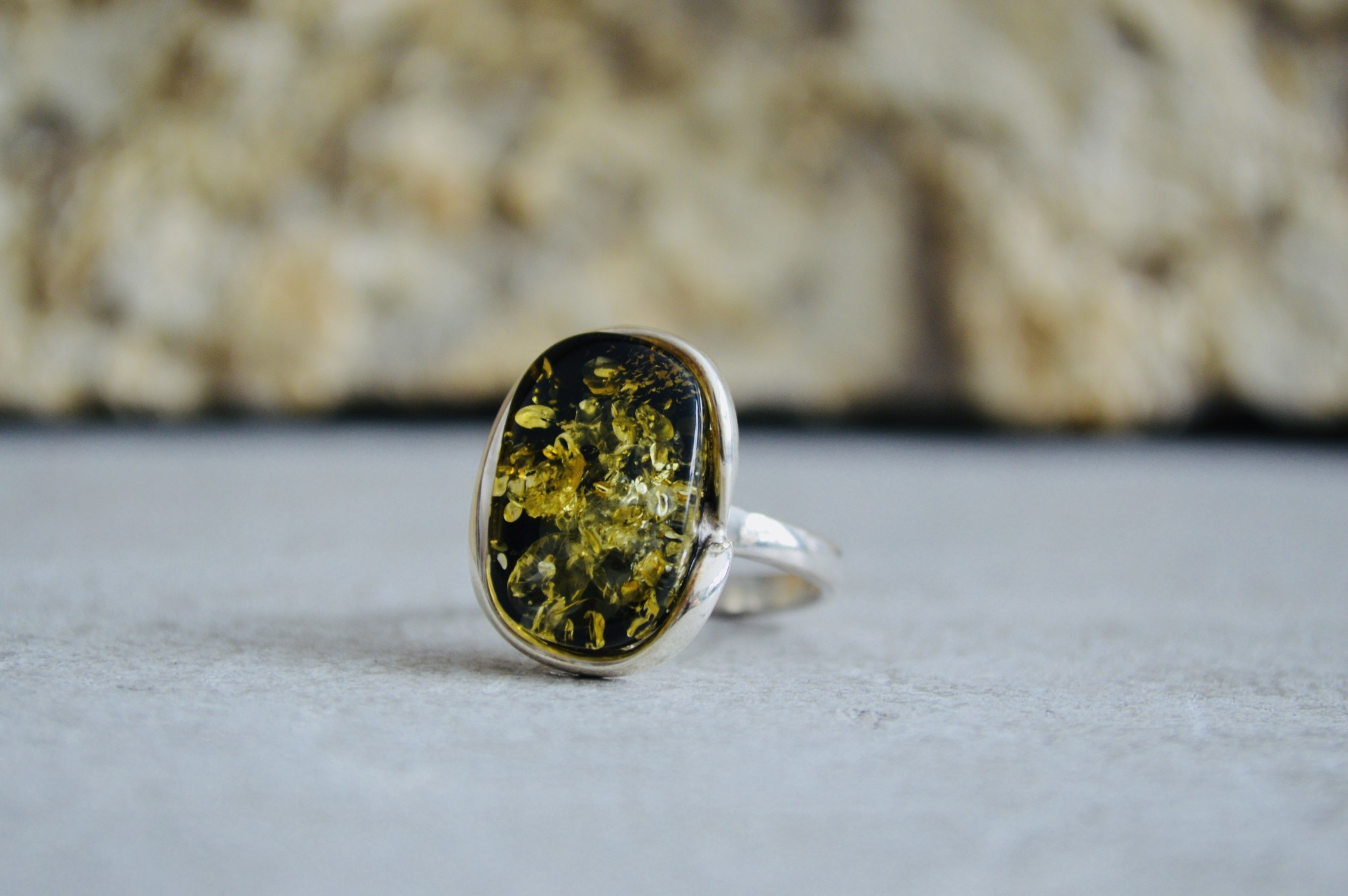 Green Amber Ring - Size 8