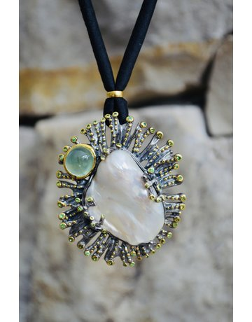 Baroque Pearl with Prehnite and Tsavorite Garnets