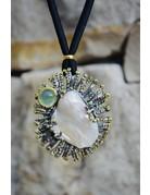 Baroque Pearl with Prehnite and Tsavorite Garnets