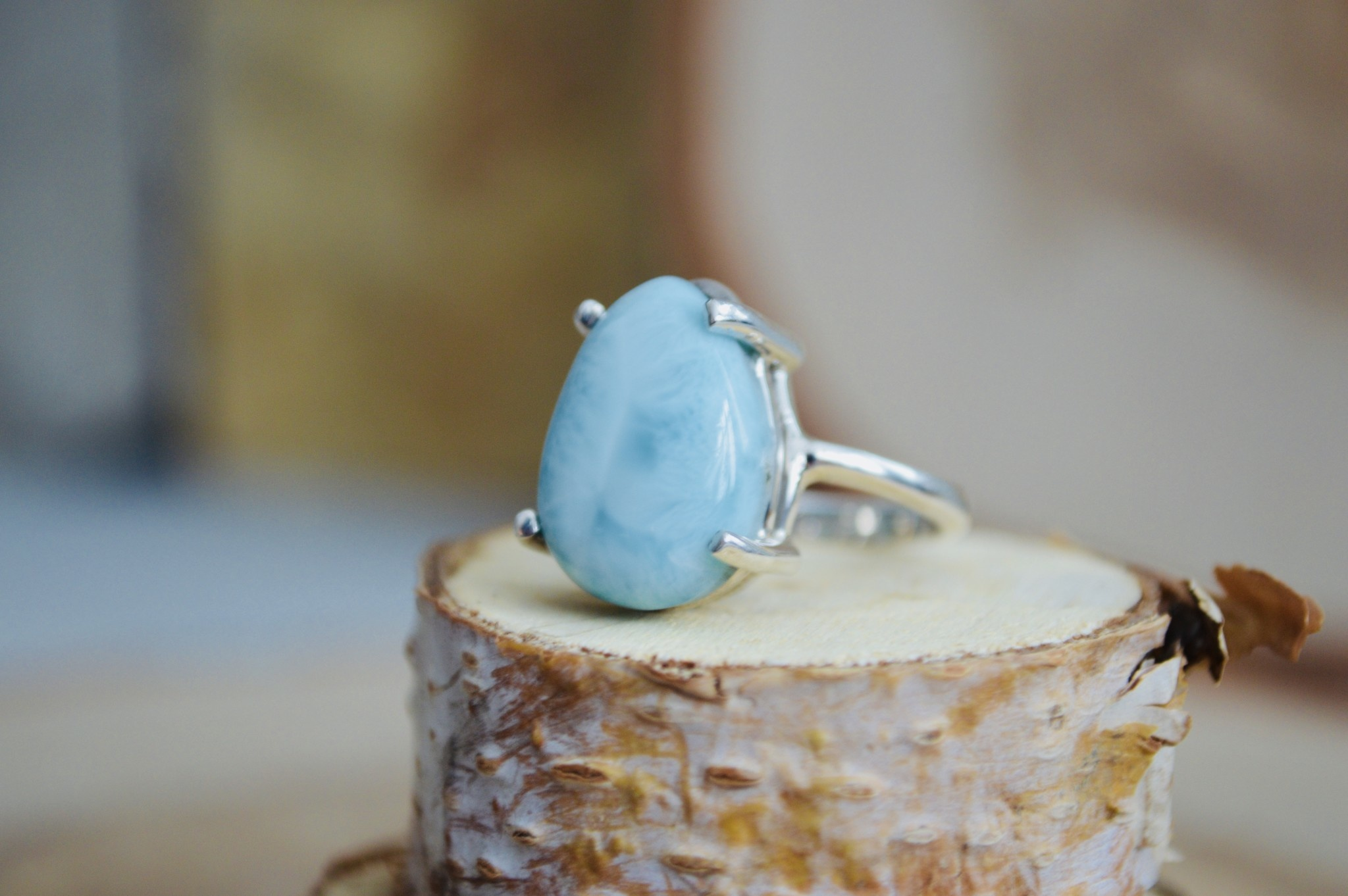 Larimar Prong Ring- Size 7.5