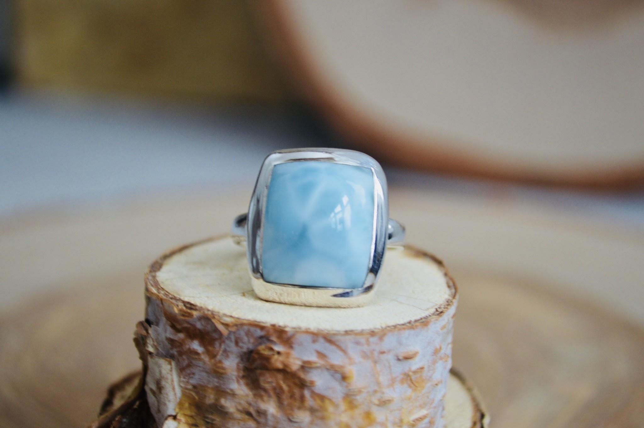 Rectangle Larimar Ring - Size 10.5