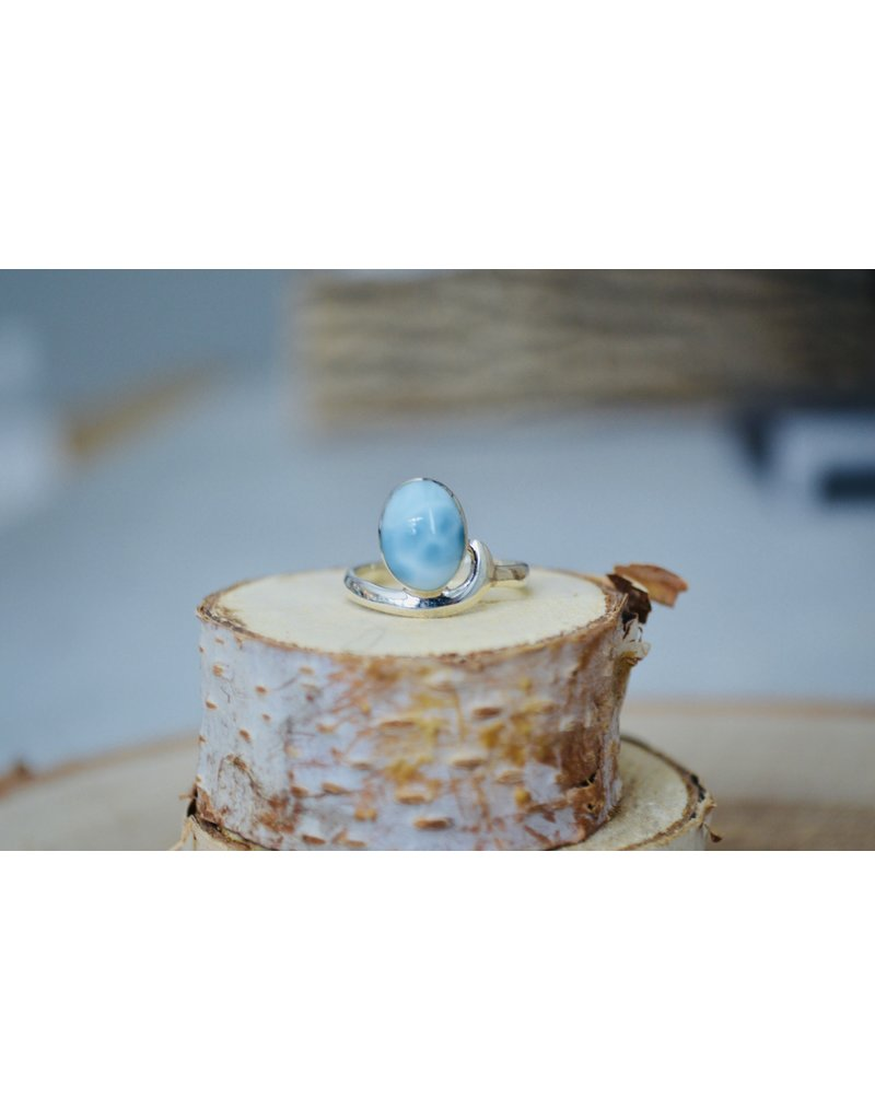 Oval Larimar Ring - Size 6