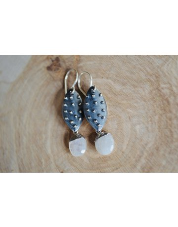 Oxidized Nobby Drop Earrings - Moonstone