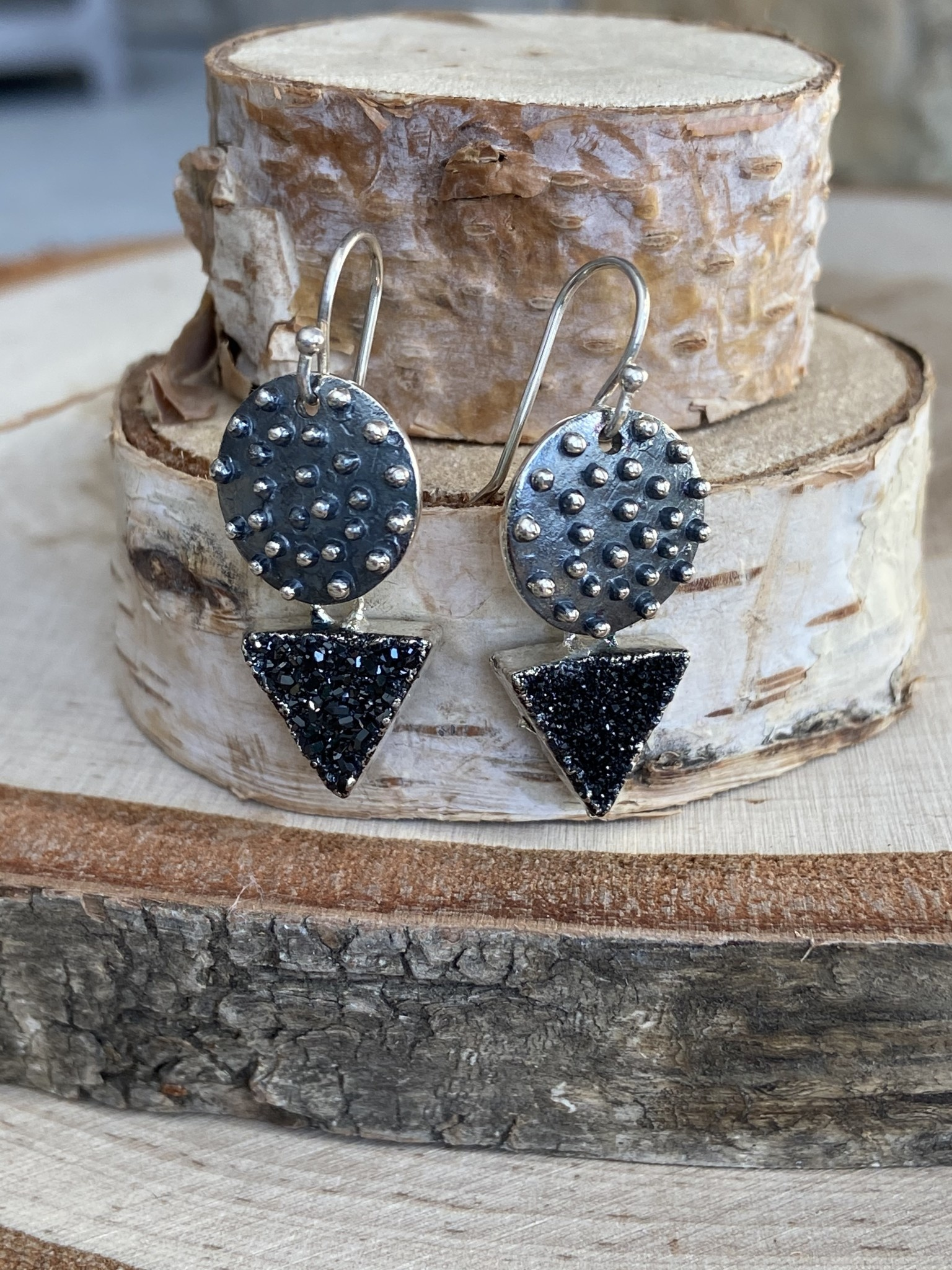 Oxidized Nobby Triangle Earrings - Druzy
