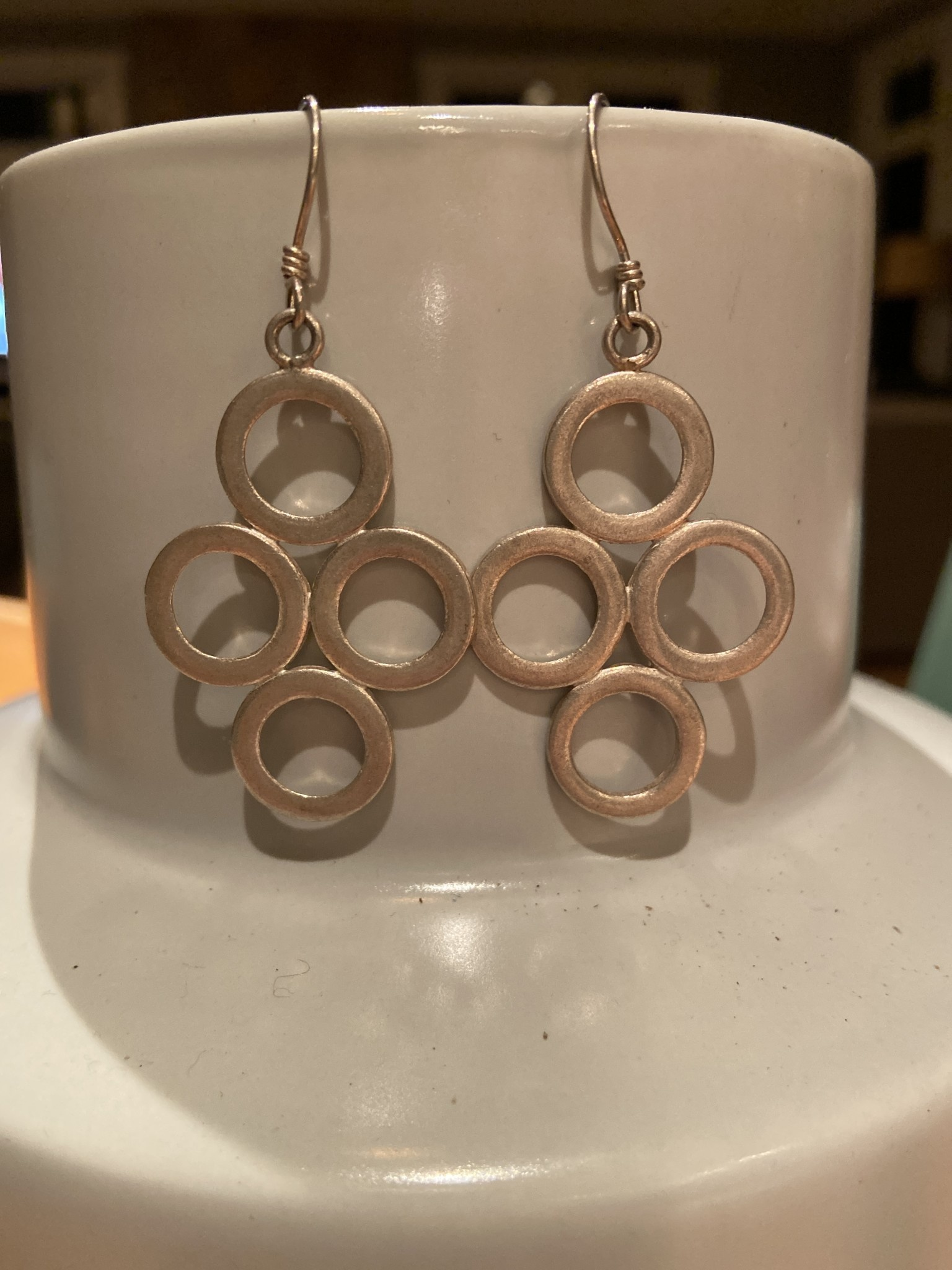 Fine Silver Circle Drop Earrings