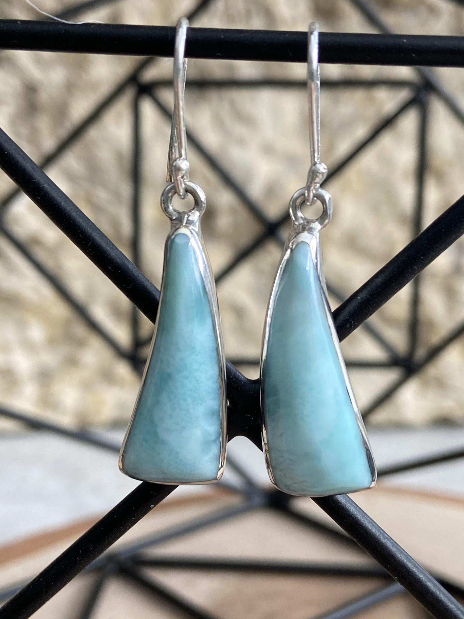 Triangle Larimar Earrings