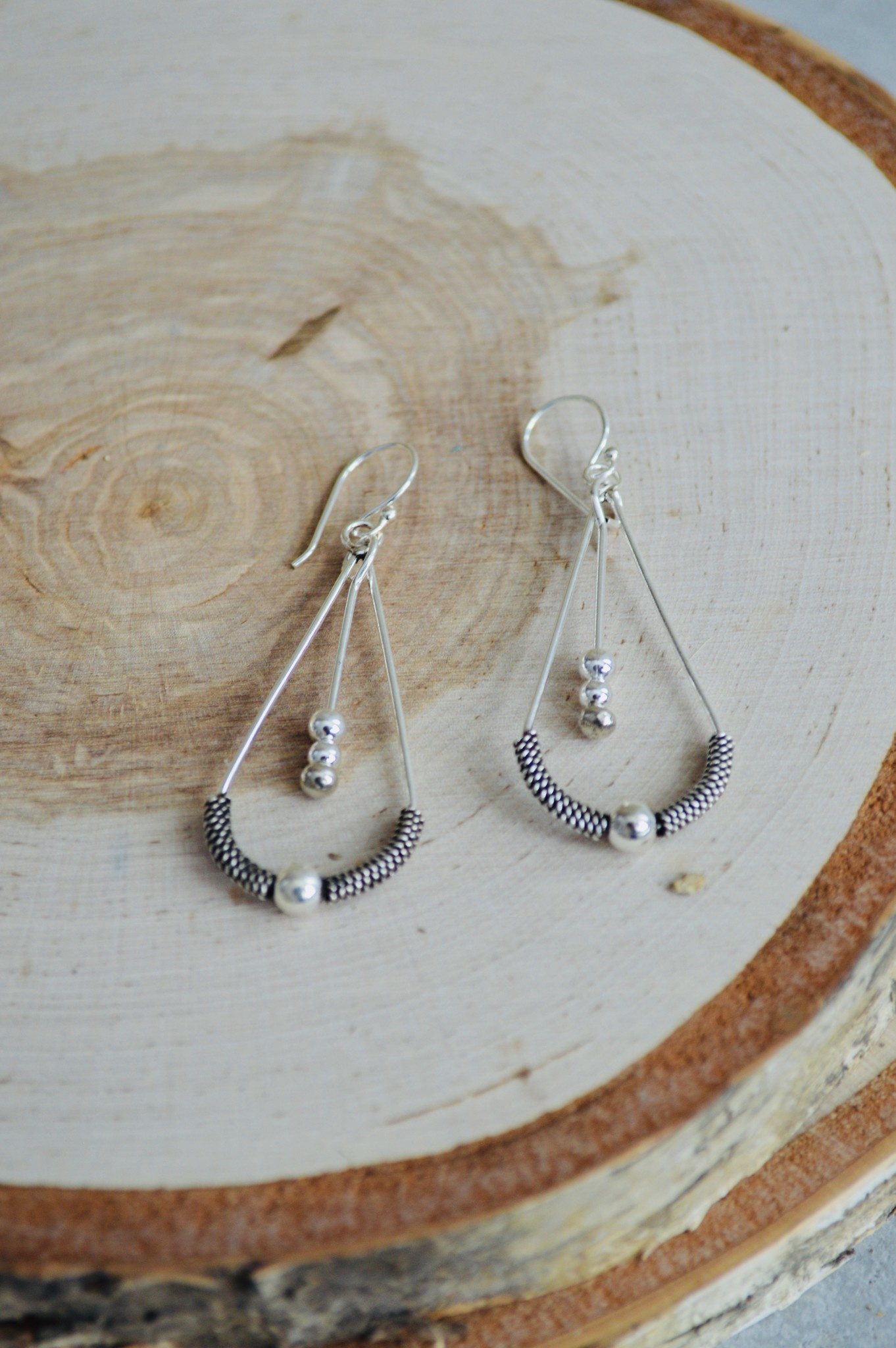 Fine Silver Tear Drop w/Ball Earrings