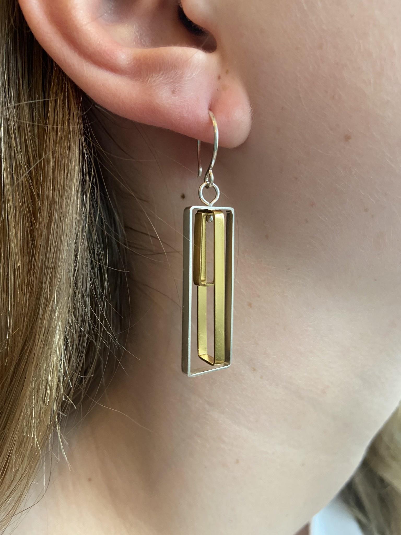 Triple Rectangle Earrings - Sterling & GF