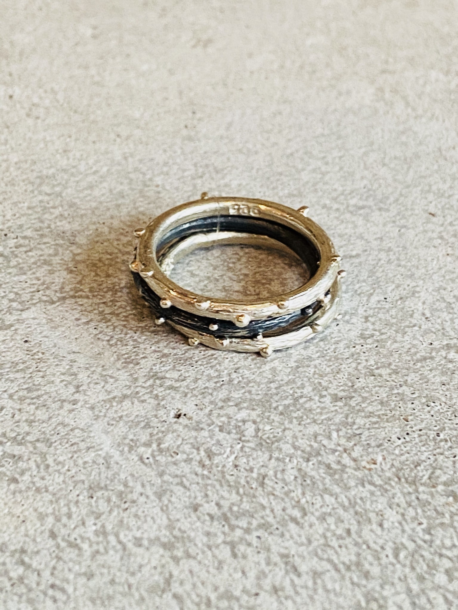 Sterling & Oxidized Sterling Nobby Stack Ring- Size 6